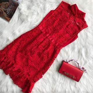 CNY Red Sleeveless Lace Dress size S M L #CNYRED