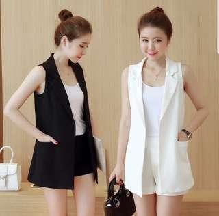 Ladies - Black / White vest suitable for casual / formal (S - XXL)