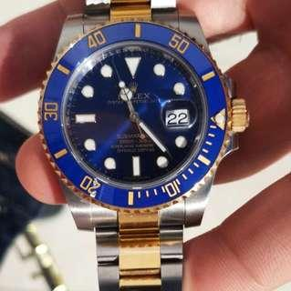 Rolex submariner 116613lb blue dial 18k yellow gold