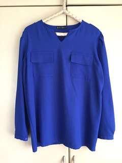 Blue long-sleeved top