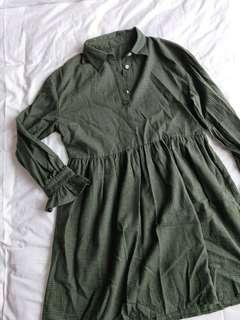 🚚 bnwot dark green checkered baby doll dress