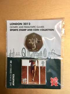 London 2012 Olympics Athletics 50p coin and stamp 倫敦奧運紀念幣和郵票