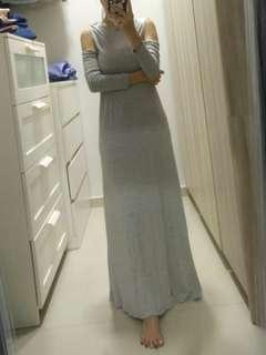 Grey long sleeve long dress