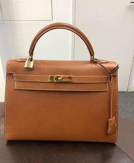 Authentic Hermes Kelly 32 gold ghw stamp B square 2550790e2b6ba