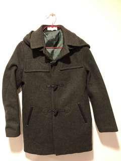 🚚 墨綠色 羊毛毛料連帽牛角釦大衣✨帽子可拆