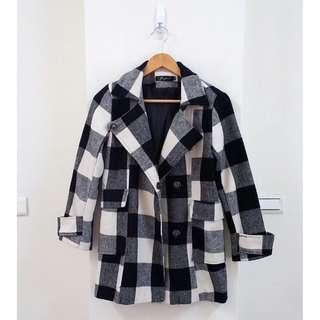 格紋呢織大衣外套