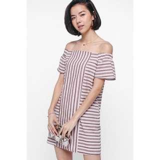 Love Bonito Schule Striped Off Shoulder Dress Size S