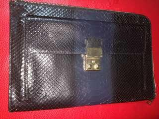 Zipped Document Folder with front pocket locking mechanism