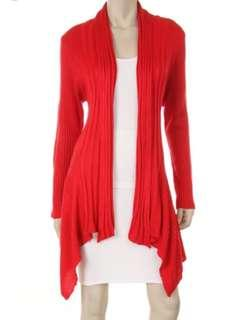 Red Long Sleeve Knitted Cardigan #CNYRED