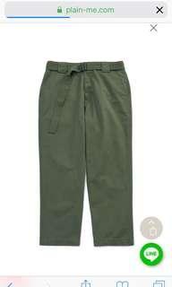Plain-me COP 水洗棉質腰帶錐形長褲(售橄綠色)