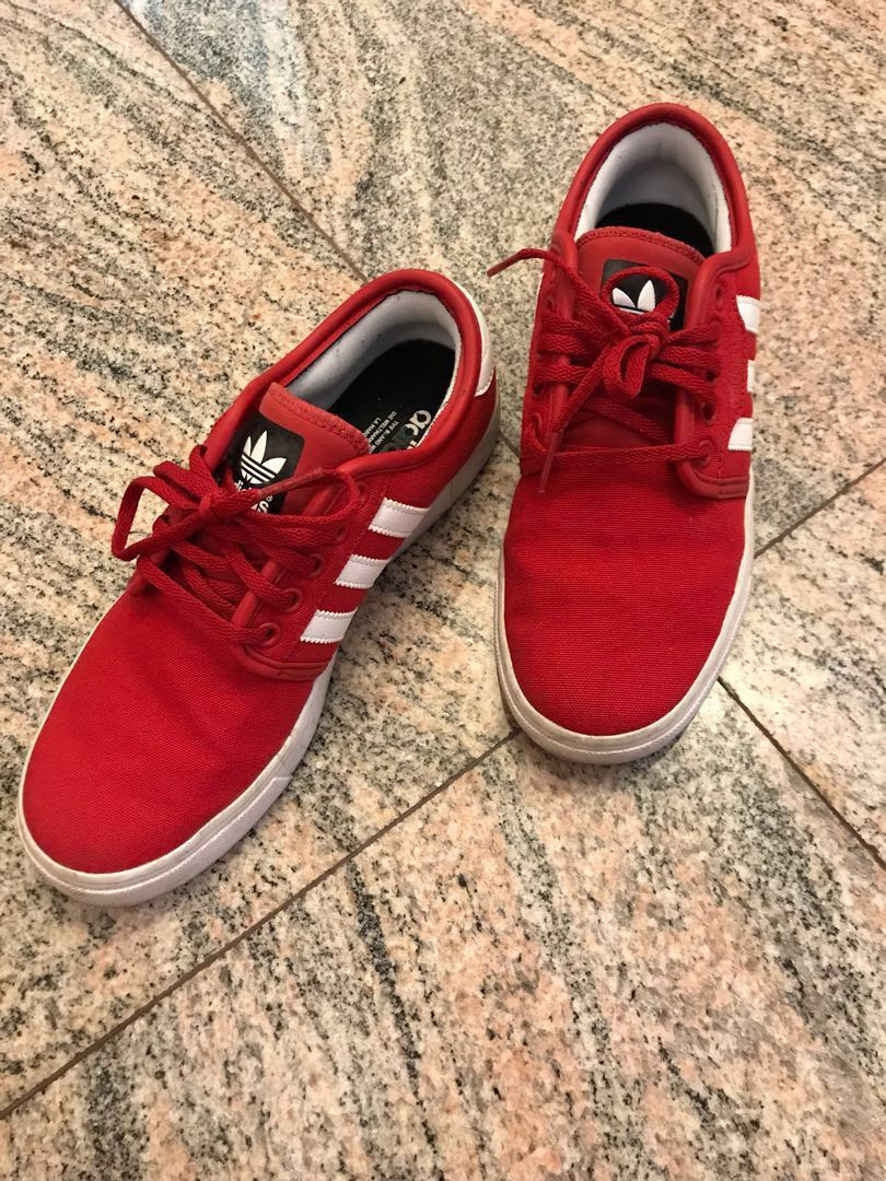 Adidas Seeley Red Canvas Shoes, Women's