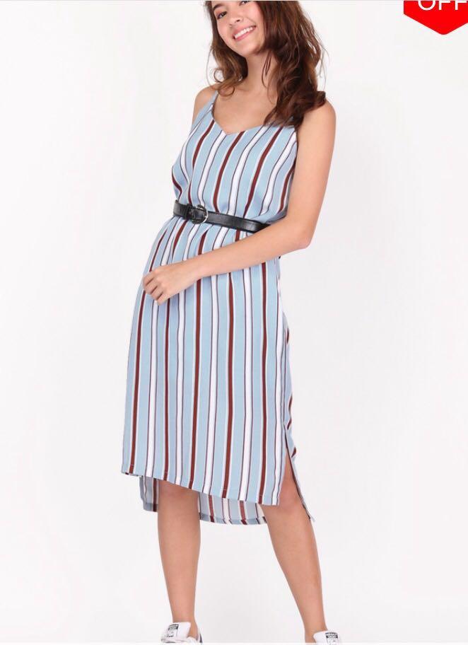 c2e397f31bb7 AFA yuri camisole slip dress in sky stripes, Women's Fashion ...