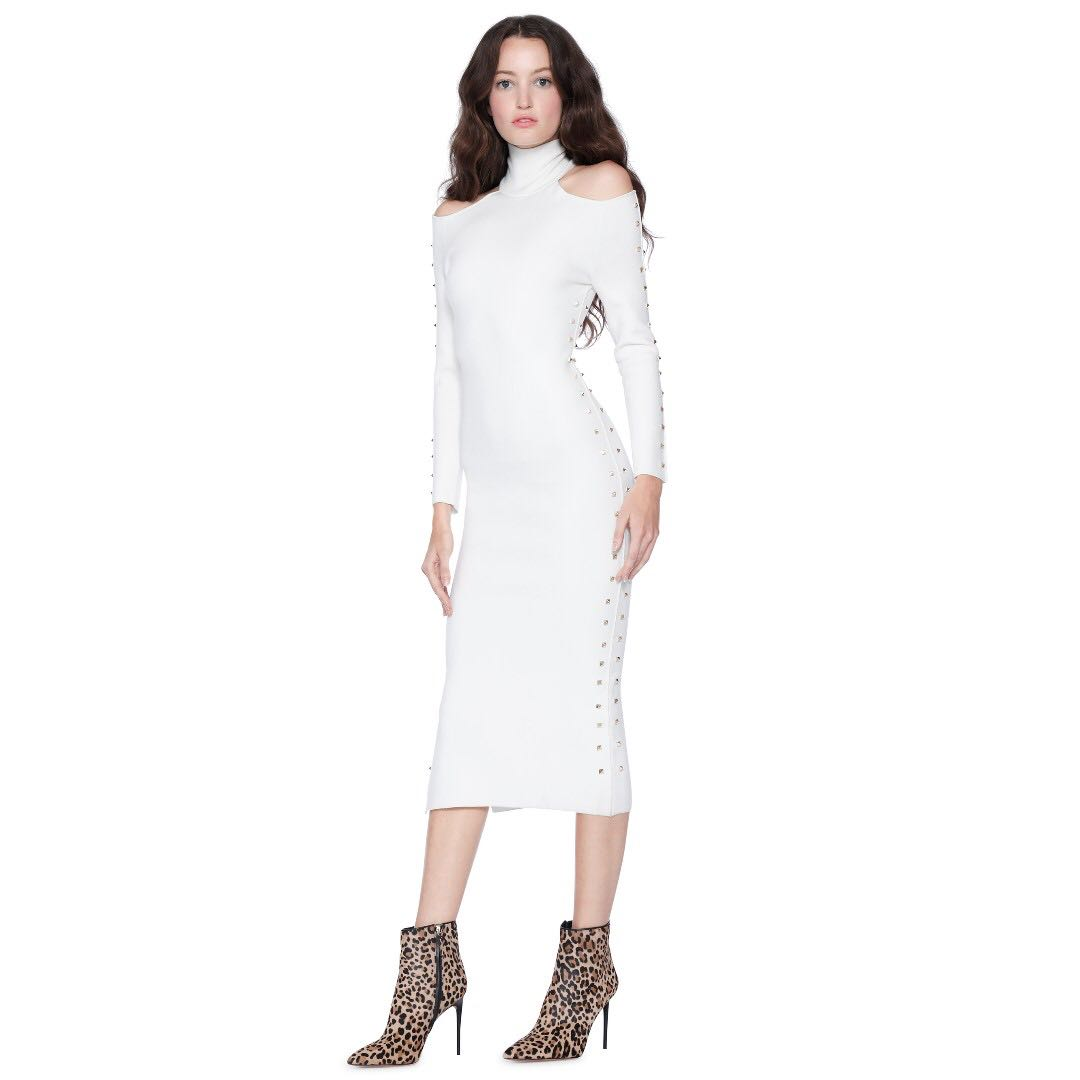 cdba7eb0151 Alice + Olivia white sweater KAHLO STUDDED MIDI DRESS
