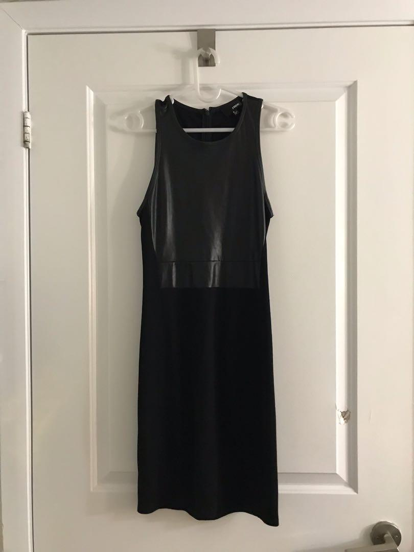 Aritzia Wilfred Free Faux Leather Black Dress - Size S