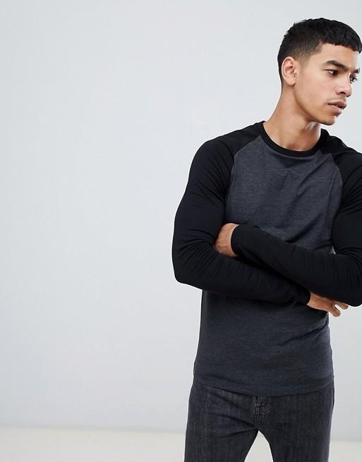 58e86008 ASOS DESIGN Muscle Fit Contrast Raglan Long Sleeve T-shirt, Men's ...