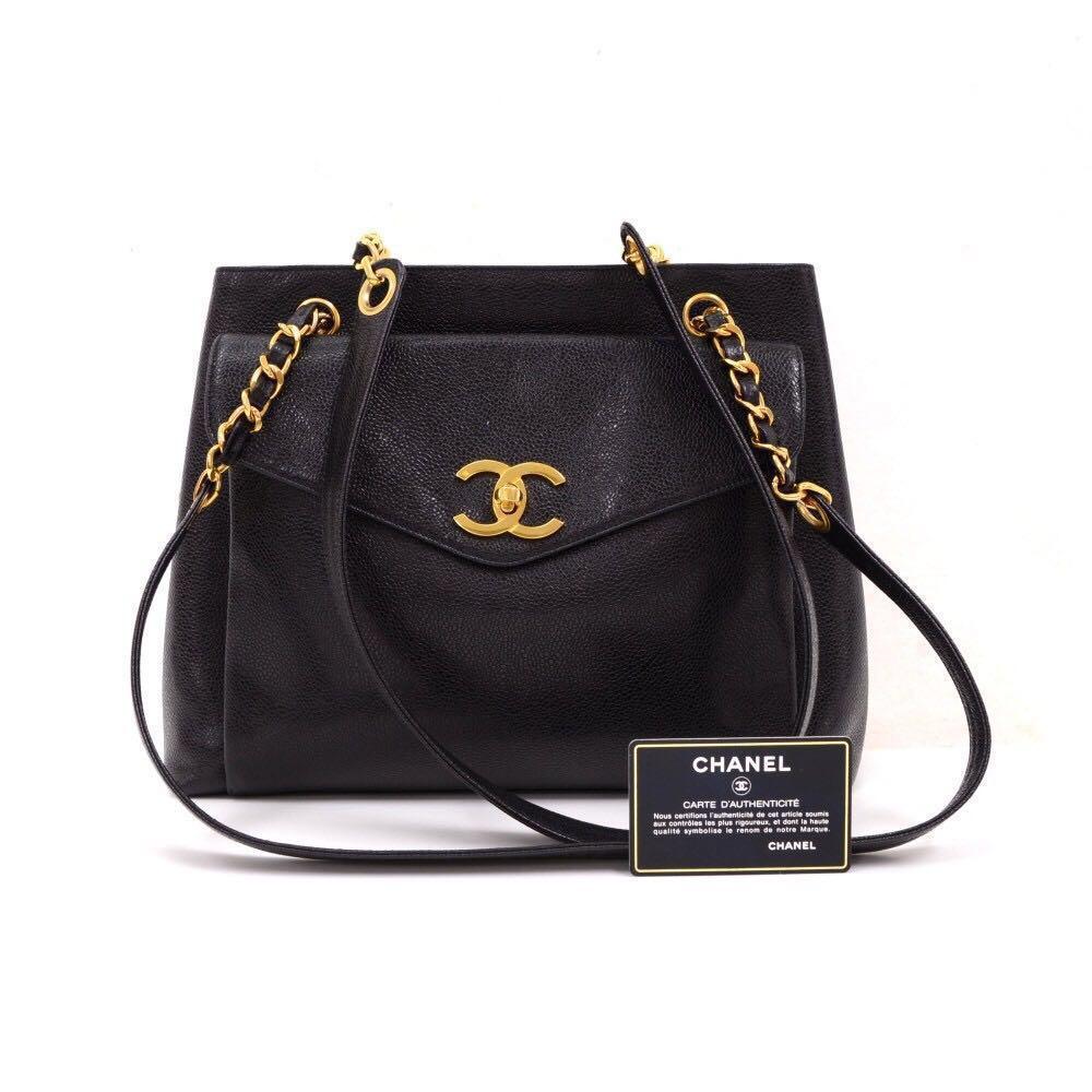 1b6b3592044e Authentic Chanel Black Caviar Leather Signature Tote Shoulder Bag ...