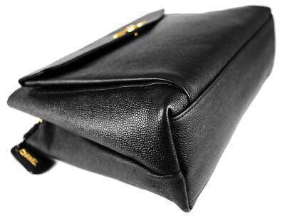 86aaf1b2298647 Authentic Chanel Black Caviar Leather Signature Tote Shoulder Bag ...