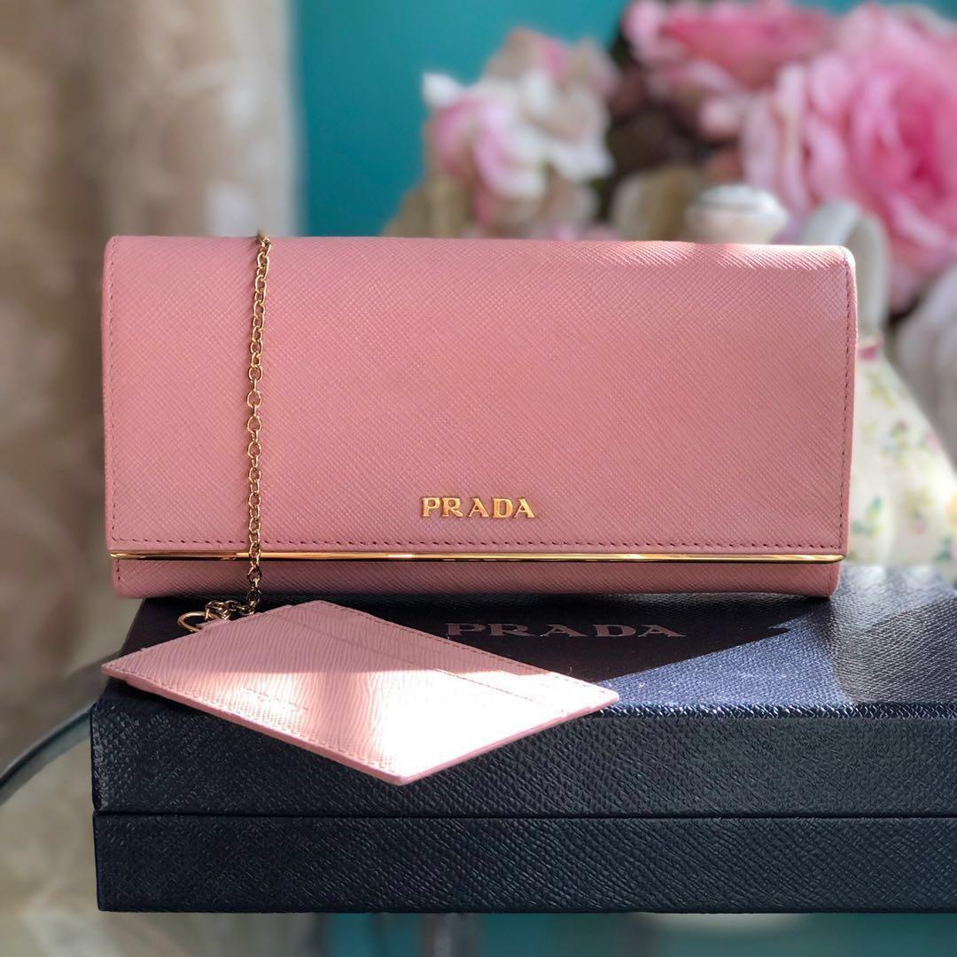 9f66122e2edd Authentic Prada Saffiano Leather Wallet in Orchidea, Luxury, Bags ...