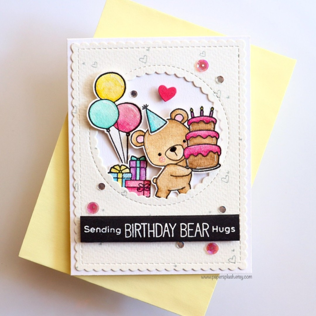 Bear Birthday Card Handmade Cake Balloons