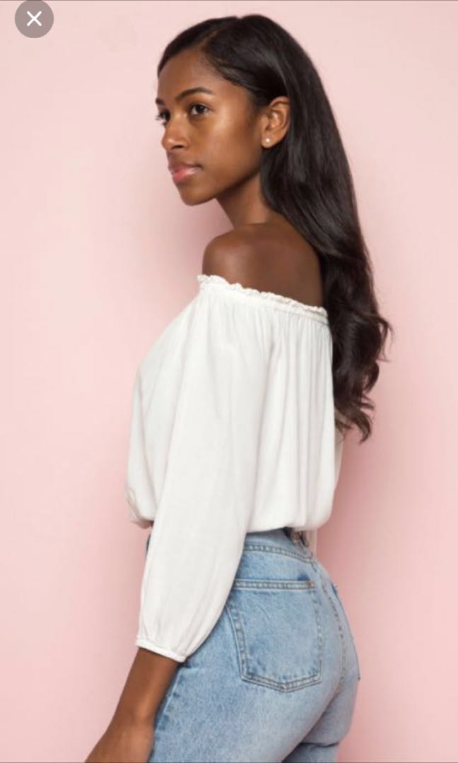 94318e0d2c8e6 Brandy Melville White Off Shoulder Maura Top