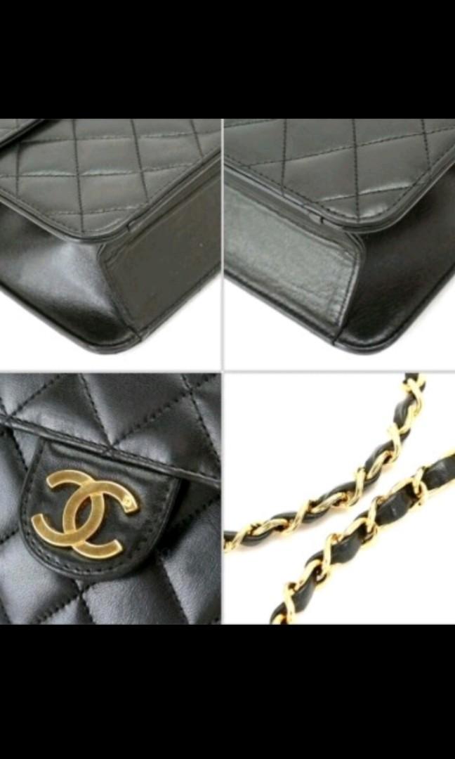d9dcd0315b44 CHANEL Matelasse Chain Shoulder Bag Black Leather Vintage