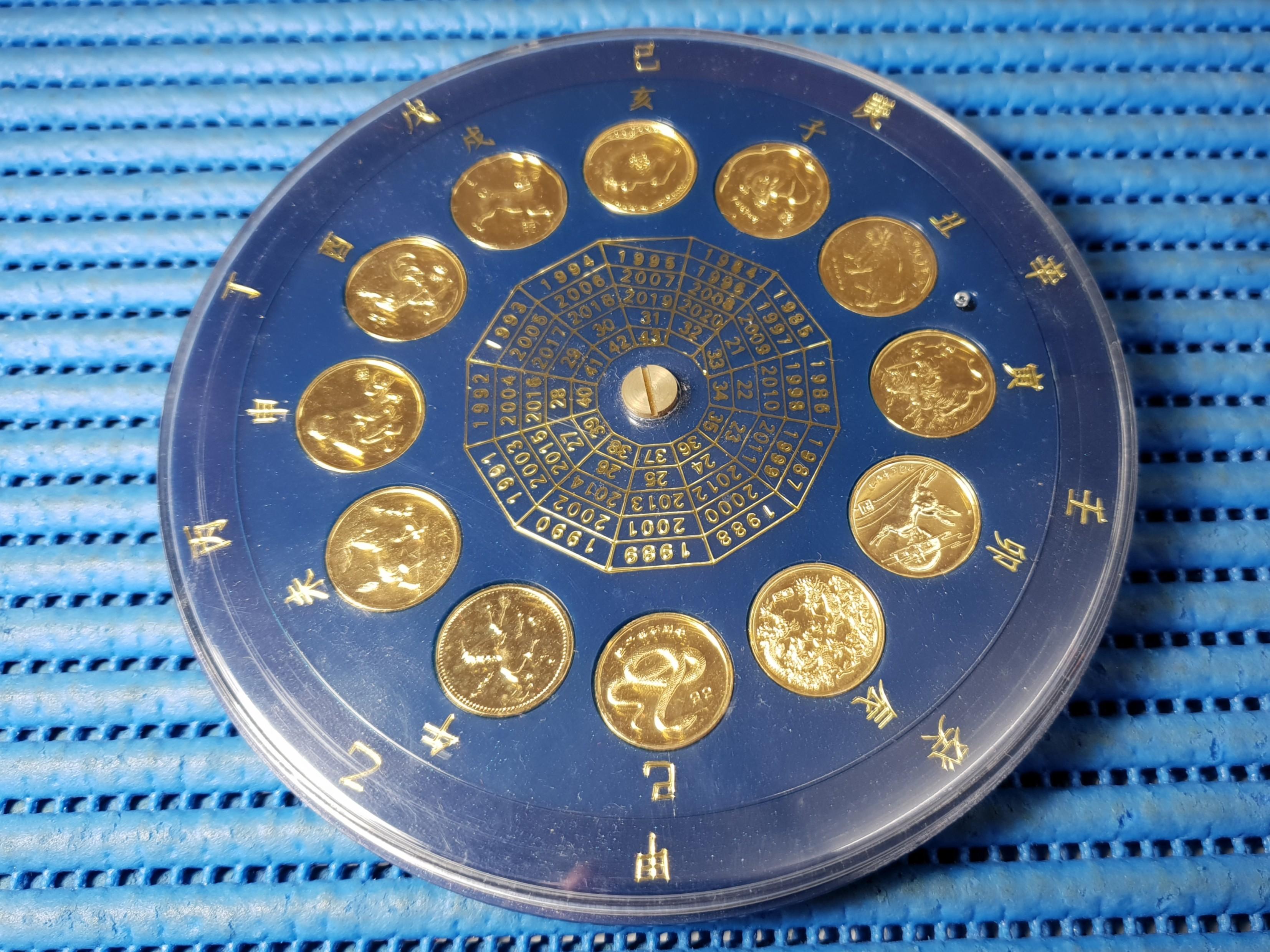 Chinese Circular Lunar Zodiac Calendar from 1984 - 2020, Vintage