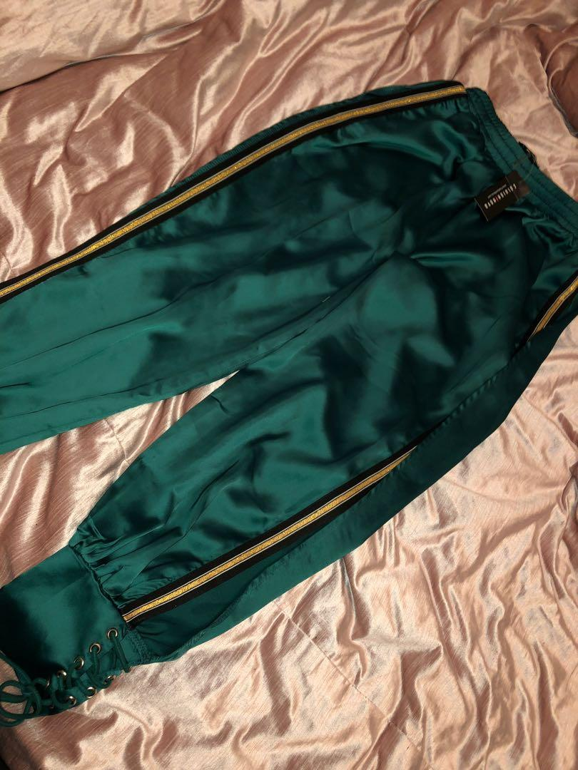 Green Fashion Nova Parachute Pants