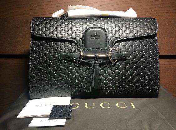 fb48b4918e5 Gucci Emily Guccissima Leather Chain Shoulder Bag (Black), Luxury ...