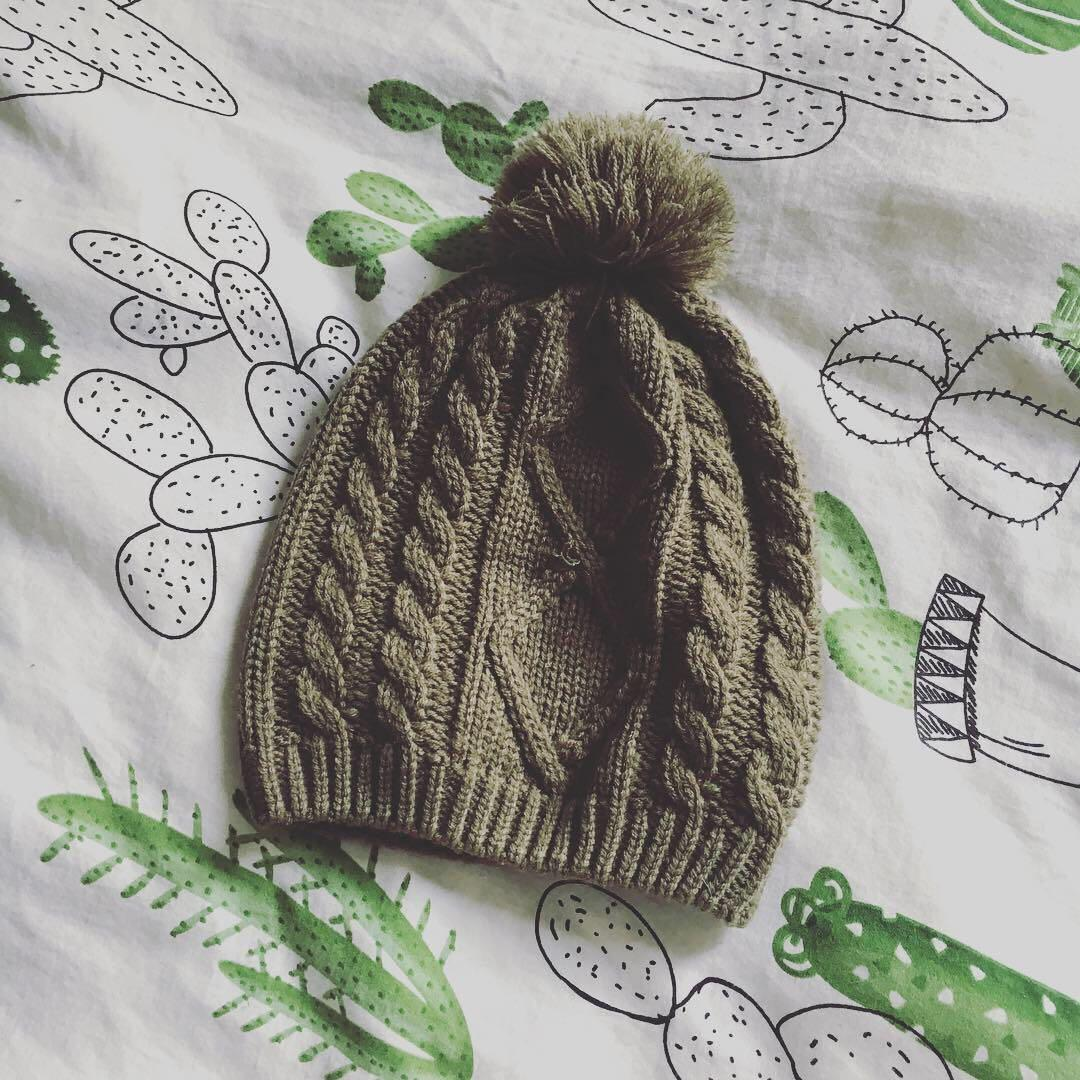 Khaki Green Winter Knit Beanie with Pom Pom | Brand: Seed | Brand New in Perfect Condition