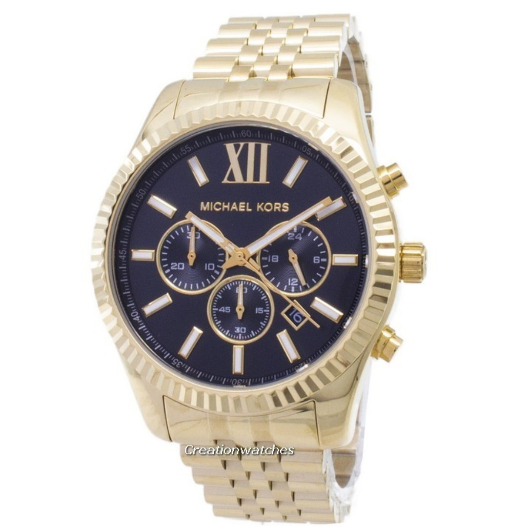 5dab32dad7ba Michael Kors Lexington Chronograph Black Dial Gold-tone MK8286 Men s ...