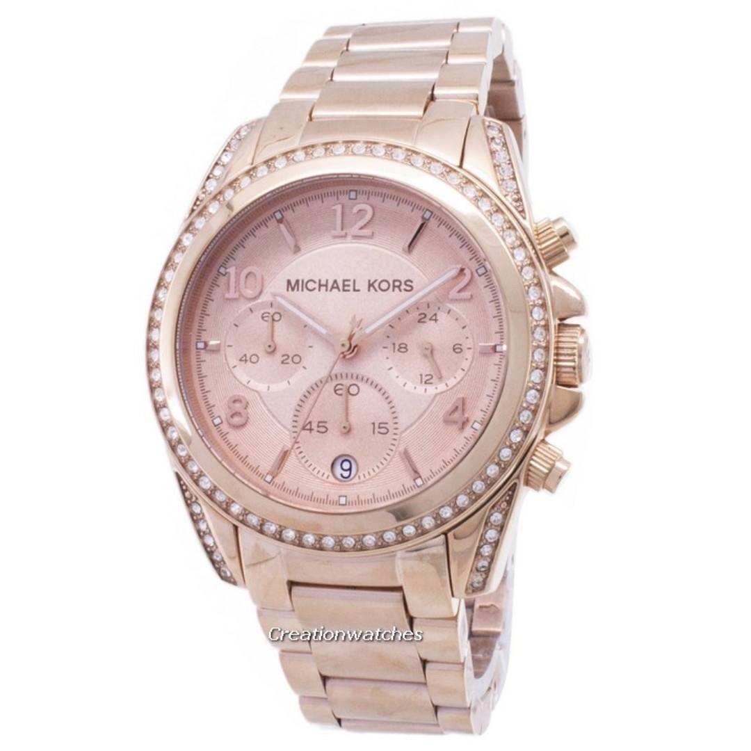 3efd43396981 Michael Kors Rose Gold Plated Blair Glitz MK5263 Women s Watch ...