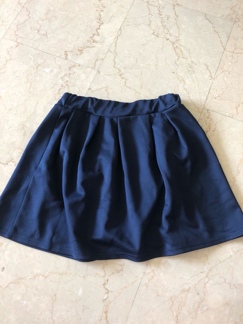 5e12cb0a06d6 Navy blue mini skirt with pockets elastic, Women's Fashion, Clothes ...