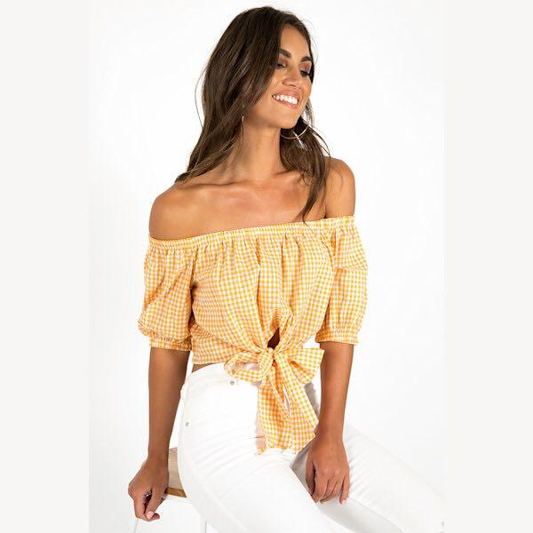 NOUGHTS & CROSSES YELLOW CHECKERED OFF-THE-SHOULDER TOP