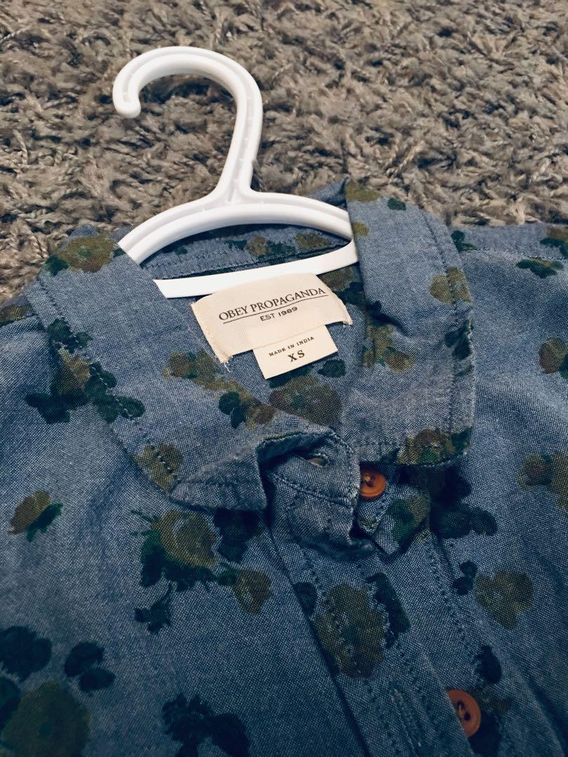 Obey button up floral shirt