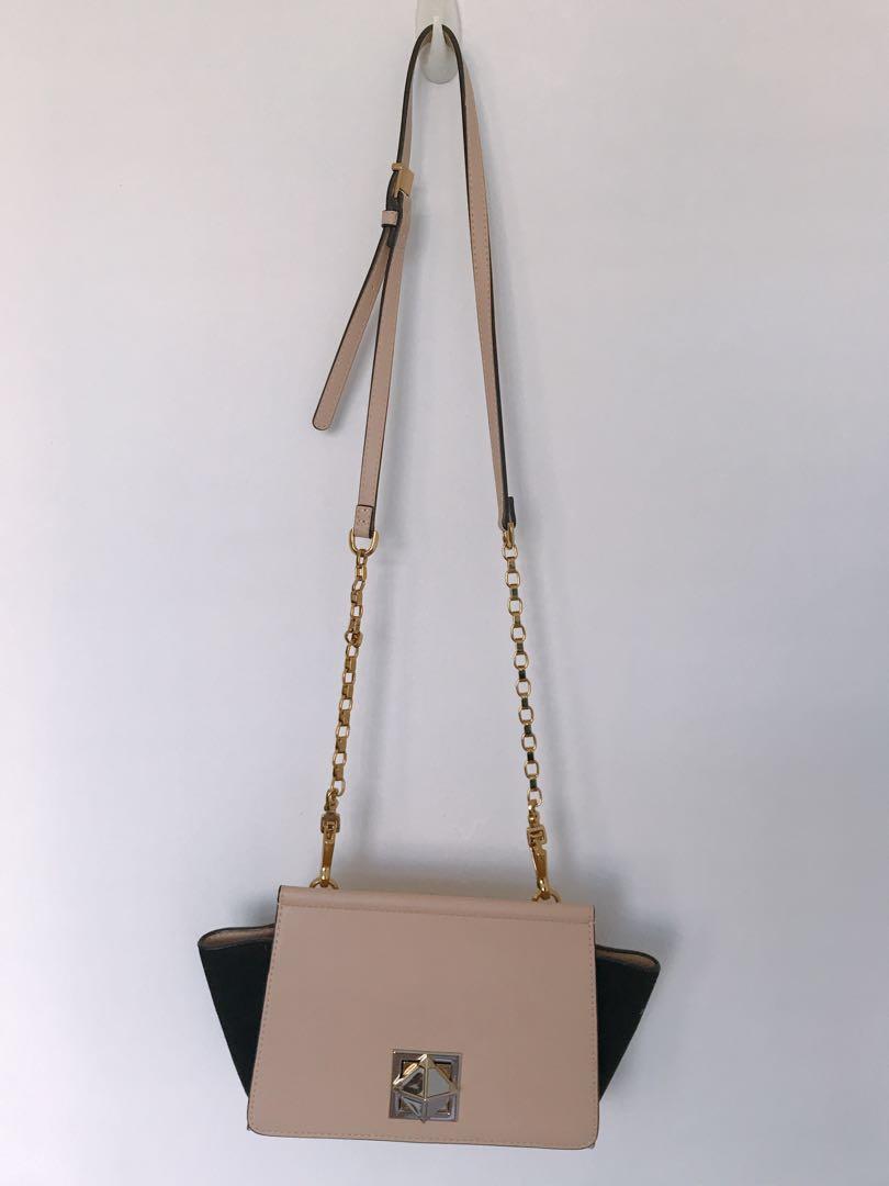 7c74847b84e Pedro beige and black handbag with gold chain