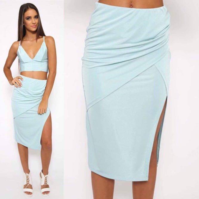 Size 8 (S) Morning Mist Midi Wrap Blue Skirt - Peppermayo