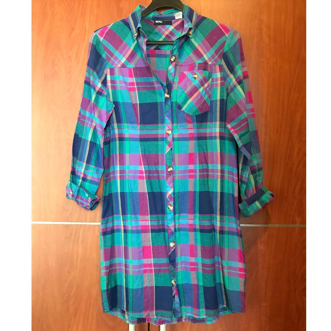 446f692f552 Urban Outfitters BDG blue checked shirt dress XS UK6 8