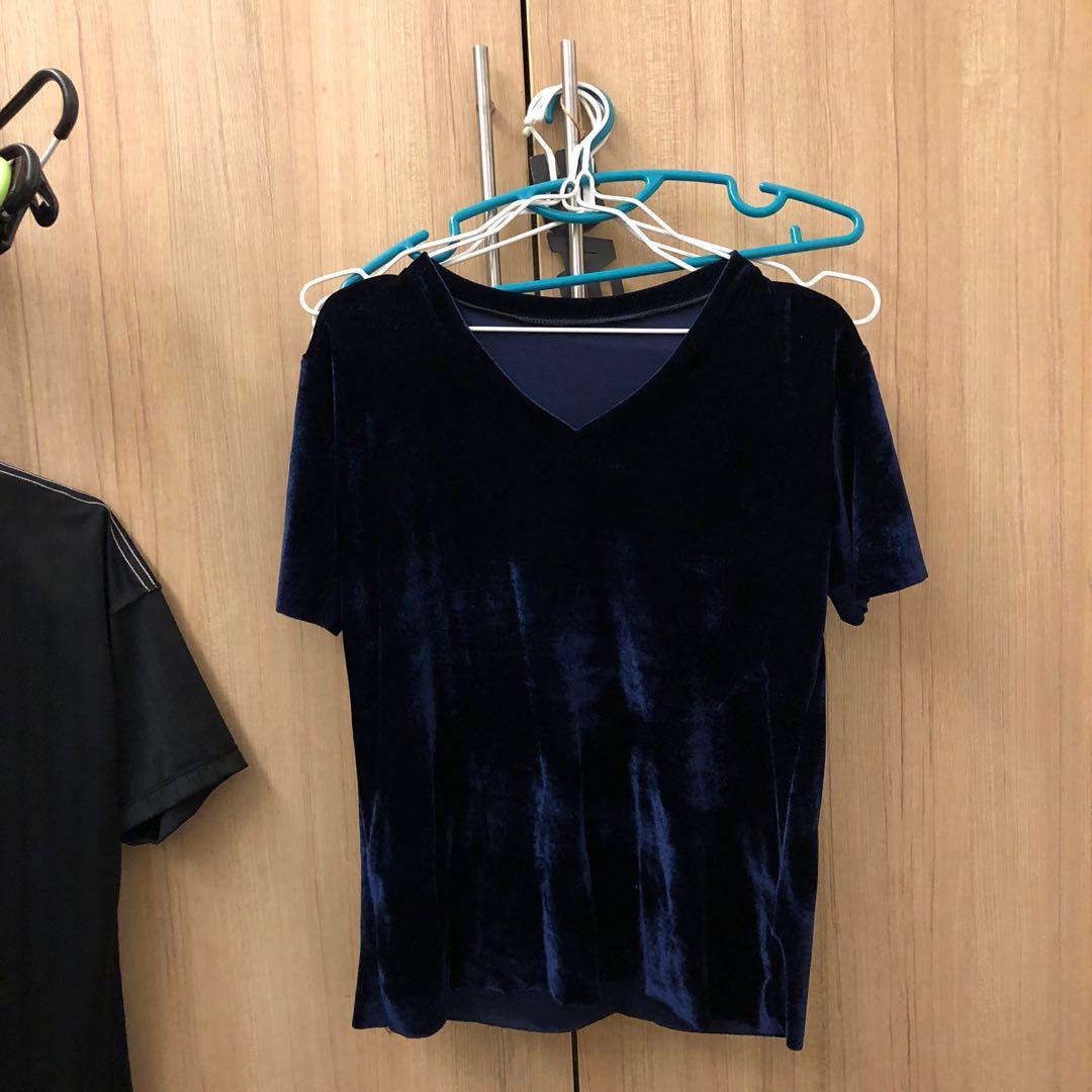 9b448fb6ee94 V-Neck Velvet Blue Shirt, Women's Fashion, Clothes, Tops on Carousell