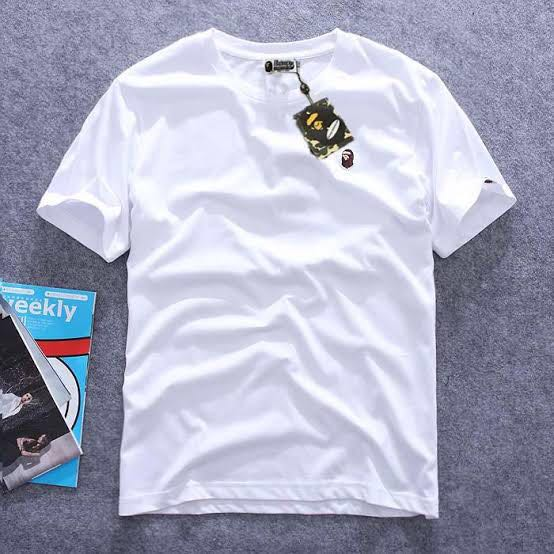 5ff03484 WTT/WTS A Bathing Ape Plain Mini Logo White Tee, Men's Fashion ...