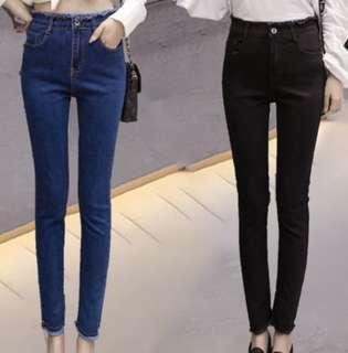 🚚 大尺碼 牛仔褲 (黑)