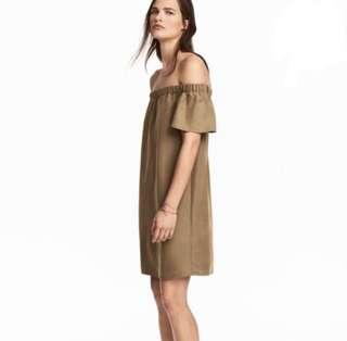 H&M Brown off-shoulder dress