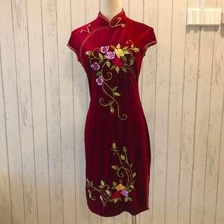 Chinese Cheongsam Velvet Red Maroon Embroidery