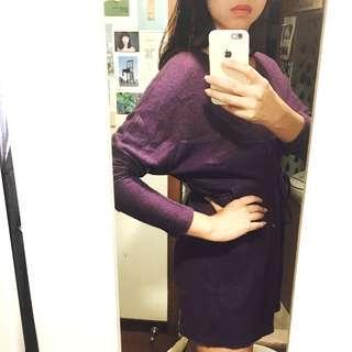 🚚 正韓貨,紫色毛料繫帶蝙蝠袖上衣(溫暖、冬季)