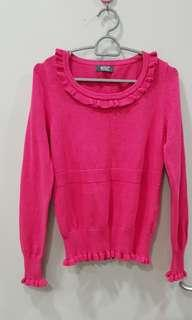 Wanko winter autumn sweet pink sweater (women woven knitted wool travel luggage cabin bag scarf uniqlo hat boot H&M down coat jacket fluffy cardingan shawl long john outerwear turtleneck)