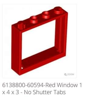 Lego 60594 train Red Window 1 x 4 x 3 - No Shutter Tabs