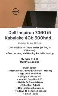 Dell Inspiron 14 7460 i5 Kabylake 4Gb 500hdd 128ssd win 10 Portable Laptop