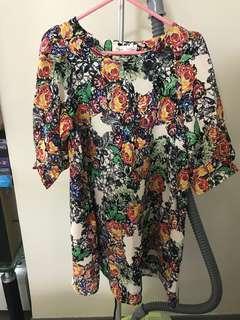 100% new floral print dress (Made in Korea)  全新韓國製花花連身裙