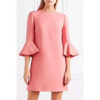 🚚 近全新! Valentino柔美名媛氣質高級真絲羊毛混紡全真絲內襯荷葉袖深粉色洋裝(36碼)