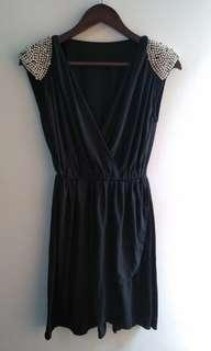 Dress with pearl shoulder detail