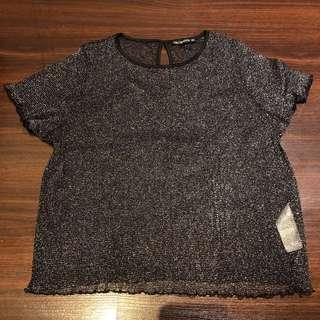 Terranova 90s Black Glitter Top